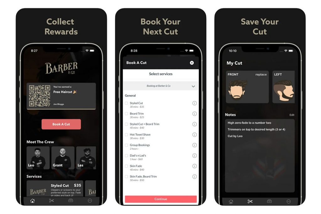 Examples of the Barber & Co App